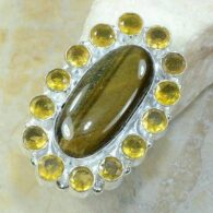 טבעת משובצת טייגר אי זהב וסיטרין כסף 925 מידה: 9.25