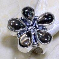 טבעת משובצת 5 אבני סמוקי קוורץ כסף 925 מידה: 7.25