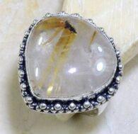 טבעת בשיבוץ רוטילייד קוורץ כסף 925 מידה: 10