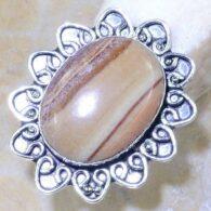 טבעת משובצת אבן ג'ספר גווני חום כסף 925 מידה: 7.25
