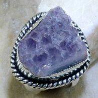 טבעת משובצת מושבת אמטיסט כסף 925 מידה: 8.25