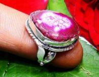 טבעת משובצת מושבת רובי כסף 925 מידה 6