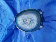 פרוסת אגט כחול ירקרק קוורץ בפנים