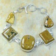 צמיד משובץ ג'ספר אושן צהוב מנוקד כסף 925