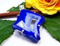 תליון משובץ אגט דרוזי כחול כסף 925