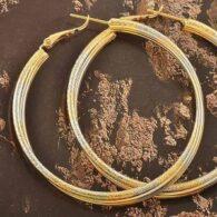 עגילי גולדפילד זהב לבן וזהב צהוב