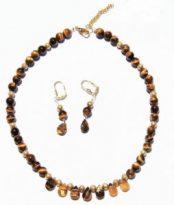 שרשרת ועגילי טייגר אי זהב קישוטים וסוגר מוזהב