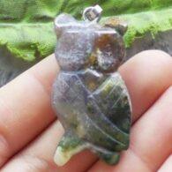תליון ינשוף מאבן אגט אינדיאני גווני ירוק אפרפר