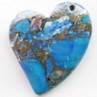 תליון ג'ספר כחול מעורב פיריט עיצוב לב