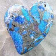 תליון ג'ספר כחול ופיריט עיצוב לב
