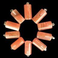 תליון קוורץ קריסטל אדום עיצוב מעוגל