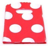 תכשיטנות: 50 שקיות אריזה ידית עיצוב עיגולים אדום לבן