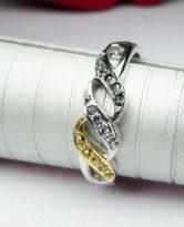 טבעת בשיבוץ יהלומי גלם מיקס כסף 925