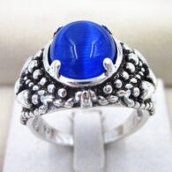 טבעת בשיבוץ אופל כחול כסף 925 מידה 8