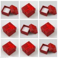 תכשיטנות: 4 קופסאות אריזה לתכשיט עם סרט גוון אדום