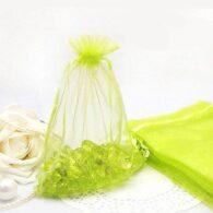 """תכשיטנות: 10 שקיקי אורגנזה גוון צהוב ירוק מידה: 9*7 ס""""מ"""