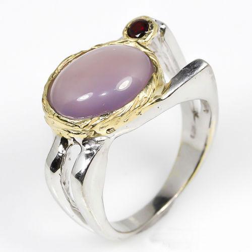 טבעת עבודת יד כסף 925 וציפוי זהב בשיבוץ אבן כלצידוני וגרנט (אפריקה) מידה: 9.75 הטבעת: 38.55 קרט