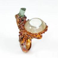 טבעת עבודת יד כסף 925 ציפוי זהב מולטי טון בשיבוץ אגט וטורמלין ירוק מידה: 7.5 הטבעת: 80.7 קרט