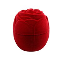 תכשיטנות: קופסת תכשיטים קטיפה אדומה עיצוב שושנה