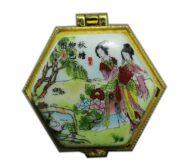 תכשיטנות: קופסת תכשיטים פורצלן משושה איורים סיניים