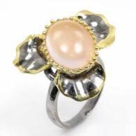 תכשיט יוקרה: טבעת עבודת יד כסף 925 ציפוי זהב ורודיום שחור בשיבוץ אבן רוז קוורץ מידה: 8.5 הטבעת 52.9 קרט