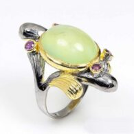 טבעת בשיבוץ פרינהייט ואמטיסט עבודת יד כסף ציפוי זהב ורודיום שחור