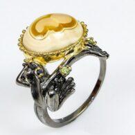 טבעת כסף 925 בשיבוץ אבני אגט עין, פרידות וספיר מידה: 9.25 הטבעת 42.75 קרט
