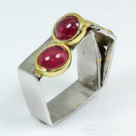 טבעת כסף 925 בשיבוץ אבני רובי (מוזמביק) מידה: 9