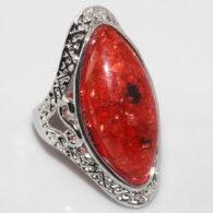 טבעת בשיבוץ ענבר גדול מידה: 8.5 כסף 925