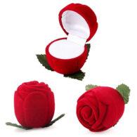 תכשיטנות: קופסת תכשיטים מהודרת קטיפה עיצוב ורד