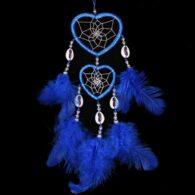 """לוכד חלומות לבבות כחול אורך: 35 ס""""מ"""