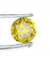 """יהלום צהוב איכותי ליטוש עגול 0.09 קרט מידות: 1.77*2.76 מ""""מ"""