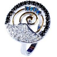 טבעת כסף 925 בשיבוץ יהלומי גלם 0.93 קרט וזירקונים כחול שחור מידה: 7.5