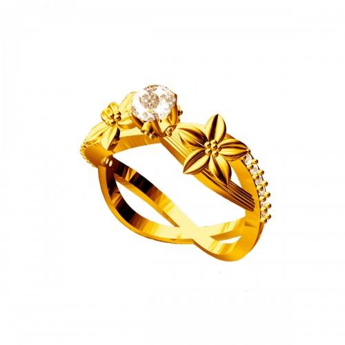 טבעת כסף 925 בציפוי זהב בשיבוץ יהלומי גלם 0.72 קרט וזירקון מרכזי מידה: 7