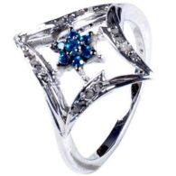 טבעת כסף 925 בשיבוץ יהלומי גלם 0.46 קרט וזירקון כחול מידה: 7