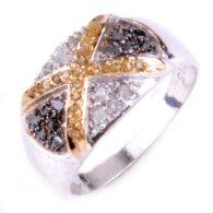 טבעת כסף 925 בשיבוץ יהלומי גלם לבן וזהוב 0.94 קרט מידה: 7.5