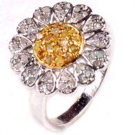 טבעת כסף 925 בשיבוץ יהלומי גלם לבן וזהוב 1.15 קרט מידה: 8