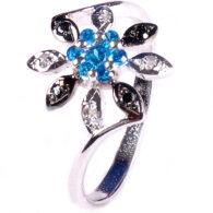 טבעת כסף 925 בשיבוץ יהלומי גלם 0.28 קרט וזירקונים כחול מידה: 7