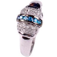 טבעת כסף 925 בשיבוץ יהלומי גלם 0.94 קרט וזירקונים כחול מידה: 7