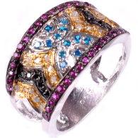 טבעת כסף בשיבוץ יהלומי גלם זהובים 1.56 קרט וזירקונים כחול שחור וסגול מידה: 7.5