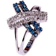 טבעת כסף 925 בשיבוץ יהלומי גלם 0.62 קרט וזירקונים כחול מידה: 7