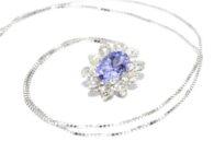שרשרת ותליון זהב לבן בשיבוץ טנזנייט ובשיבוץ 10 יהלומים