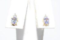 עגילי זהב 10 קרט בשיבוץ טנזנייט איכותי ויהלום