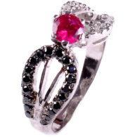 טבעת כסף בשיבוץ יהלומי גלם שחורים ולבנים זירקון אדום 0.80 קרט
