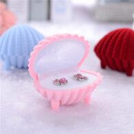 קופסת מתנה קטיפה לטבעת או עגילים עיצוב צדף ורוד