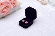 קופסת מתנה קטיפה לטבעת או עגילים מלבן שחור