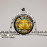 סמל השמש גווני כתום תליון ושרשרת מוכסף
