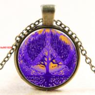 עץ החיים וסמל השלום תליון ושרשרת ברונזה גווני סגול וכתום