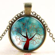 עץ החיים תליון ושרשרת ברונזה גווני חום ירוק