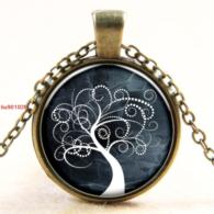 סמל עץ החיים גווני לבן אפור ירקרק תליון ושרשרת ברונזה